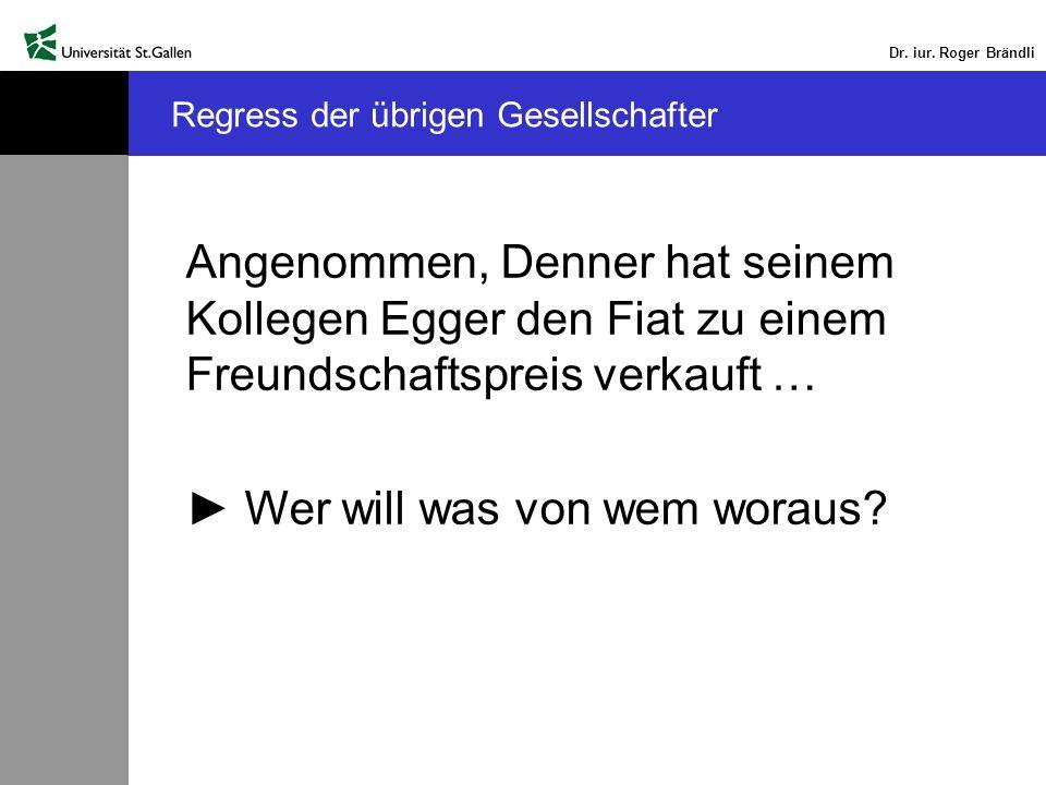 Dr. iur. Roger Brändli Angenommen, Denner hat seinem Kollegen Egger den Fiat zu einem Freundschaftspreis verkauft … Wer will was von wem woraus? Regre