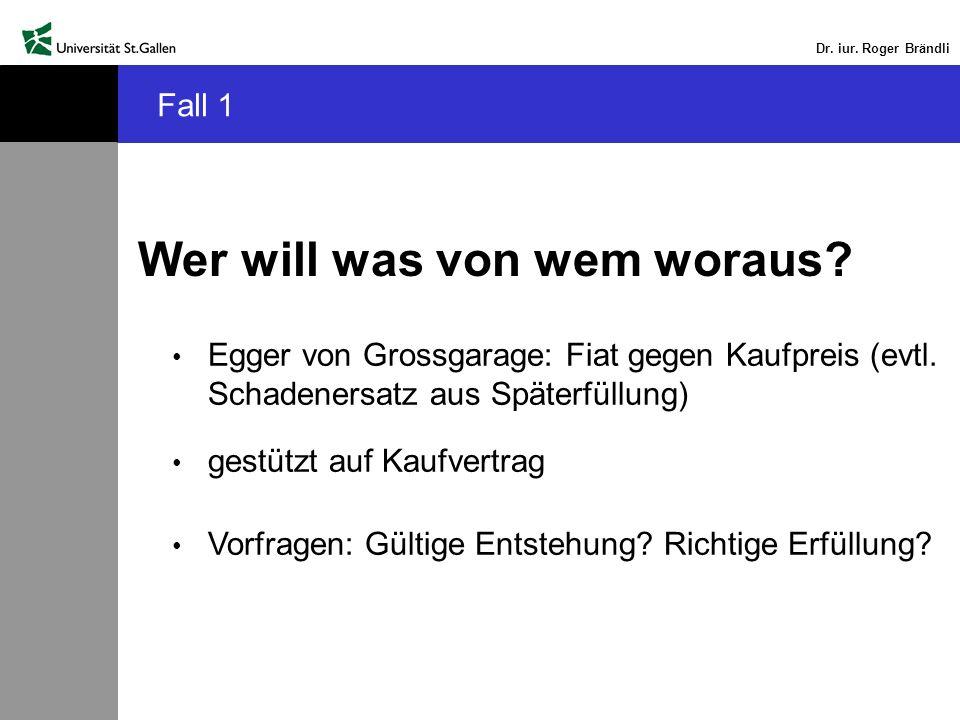 Dr. iur. Roger Brändli Wer will was von wem woraus? Egger von Grossgarage: Fiat gegen Kaufpreis (evtl. Schadenersatz aus Späterfüllung) gestützt auf K