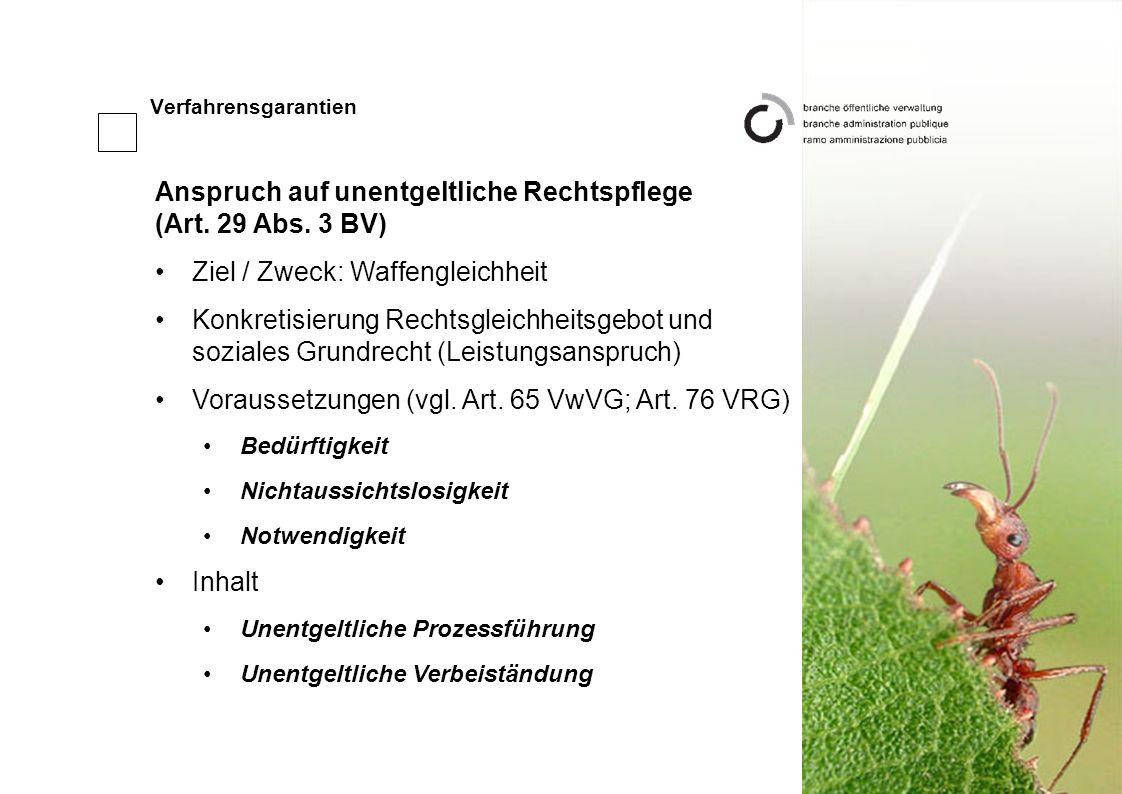 Verfahrensgarantien Anspruch auf unentgeltliche Rechtspflege (Art.