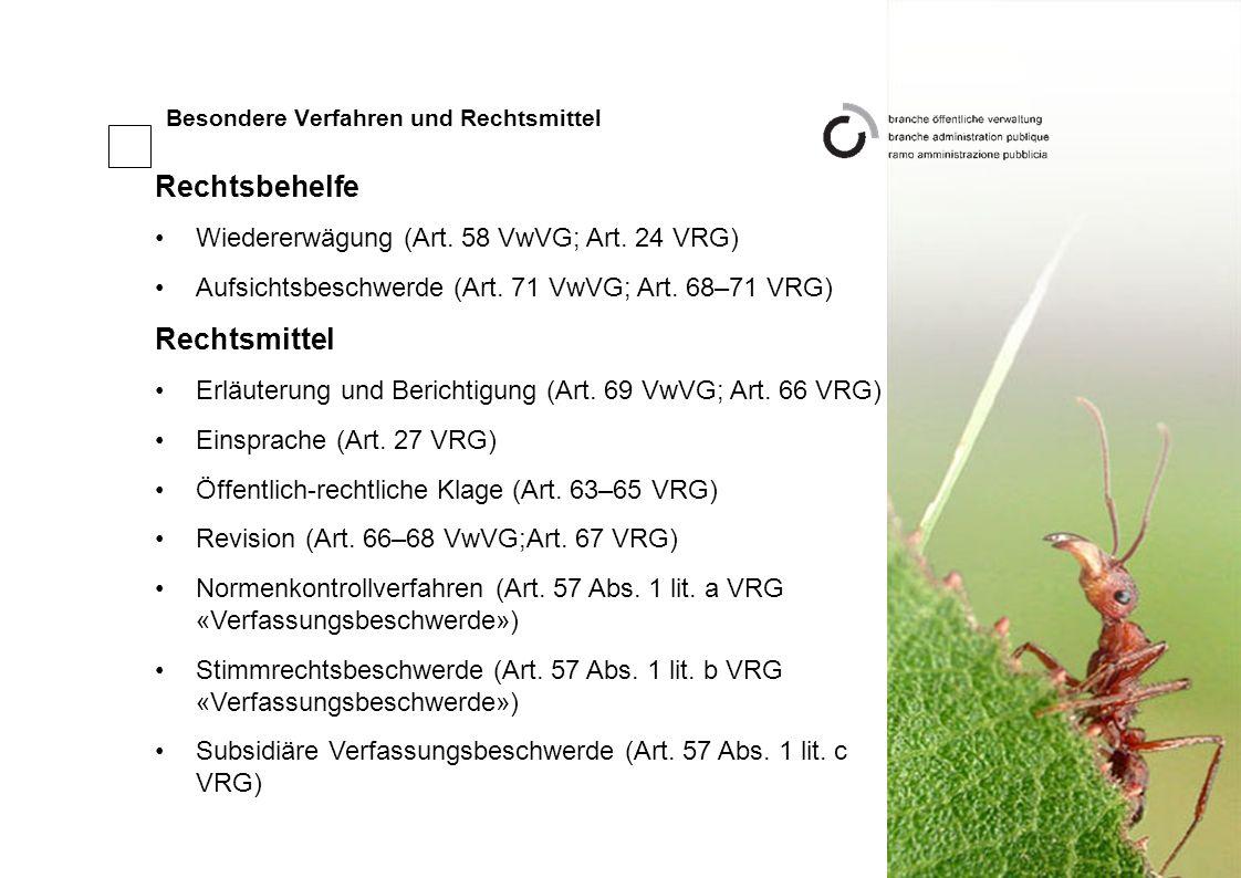 Besondere Verfahren und Rechtsmittel Rechtsbehelfe Wiedererwägung (Art.
