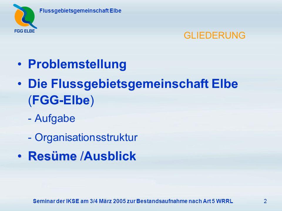 Seminar der IKSE am 3/4 März 2005 zur Bestandsaufnahme nach Art 5 WRRL2 Flussgebietsgemeinschaft Elbe GLIEDERUNG Problemstellung Die Flussgebietsgemeinschaft Elbe (FGG-Elbe) - Aufgabe - Organisationsstruktur Resüme /Resüme /Ausblick