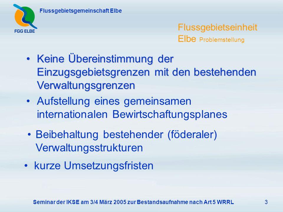 Seminar der IKSE am 3/4 März 2005 zur Bestandsaufnahme nach Art 5 WRRL3 Flussgebietsgemeinschaft Elbe Flussgebietseinheit Elbe Problemstellung Aufstellung eines gemeinsamen internationalen Bewirtschaftungsplanes Keine Übereinstimmung der Einzugsgebietsgrenzen mit den bestehenden VerwaltungsgrenzenKeine Übereinstimmung der Einzugsgebietsgrenzen mit den bestehenden Verwaltungsgrenzen Beibehaltung bestehender (föderaler) Verwaltungsstrukturen kurze Umsetzungsfristen