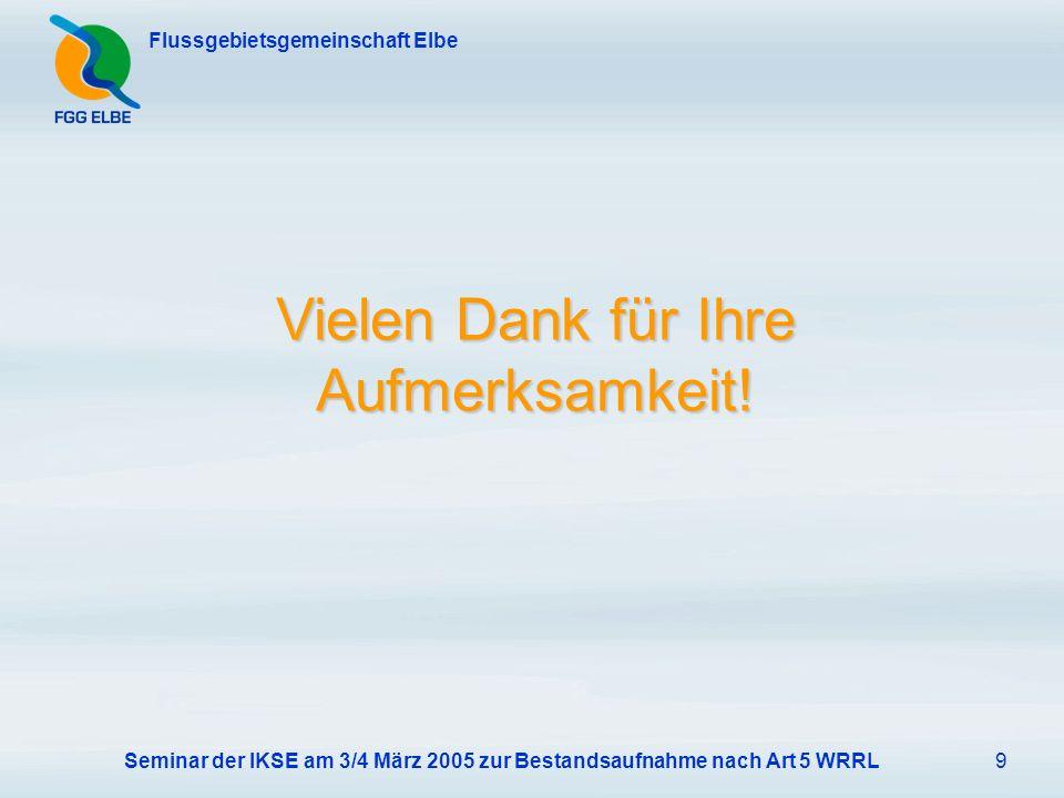 Seminar der IKSE am 3/4 März 2005 zur Bestandsaufnahme nach Art 5 WRRL9 Flussgebietsgemeinschaft Elbe Vielen Dank für Ihre Aufmerksamkeit!