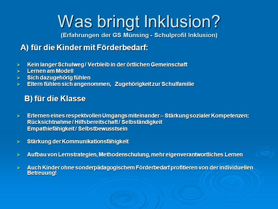 Was bringt Inklusion? (Erfahrungen der GS Münsing - Schulprofil Inklusion) A) für die Kinder mit Förderbedarf: A) für die Kinder mit Förderbedarf: Kei
