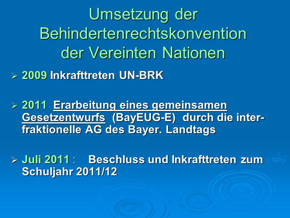 Umsetzung der Behindertenrechtskonvention der Vereinten Nationen 2009 Inkrafttreten UN-BRK 2009 Inkrafttreten UN-BRK 2011 Erarbeitung eines gemeinsame