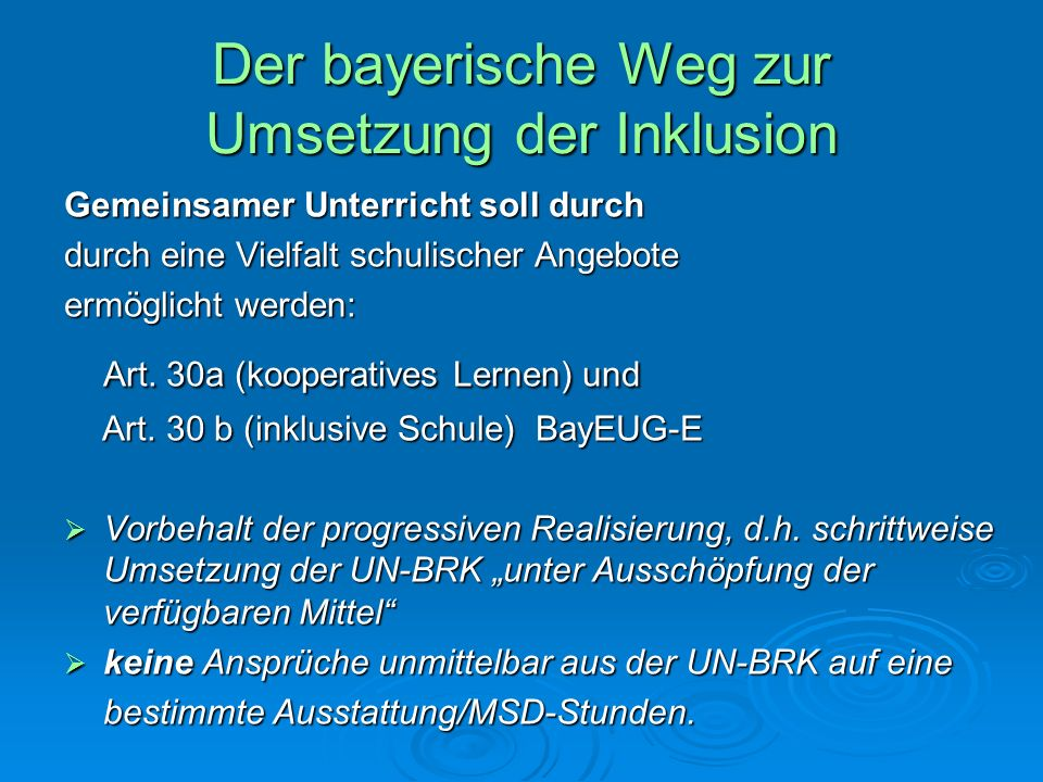 Der bayerische Weg zur Umsetzung der Inklusion Gemeinsamer Unterricht soll durch durch eine Vielfalt schulischer Angebote ermöglicht werden: Art. 30a