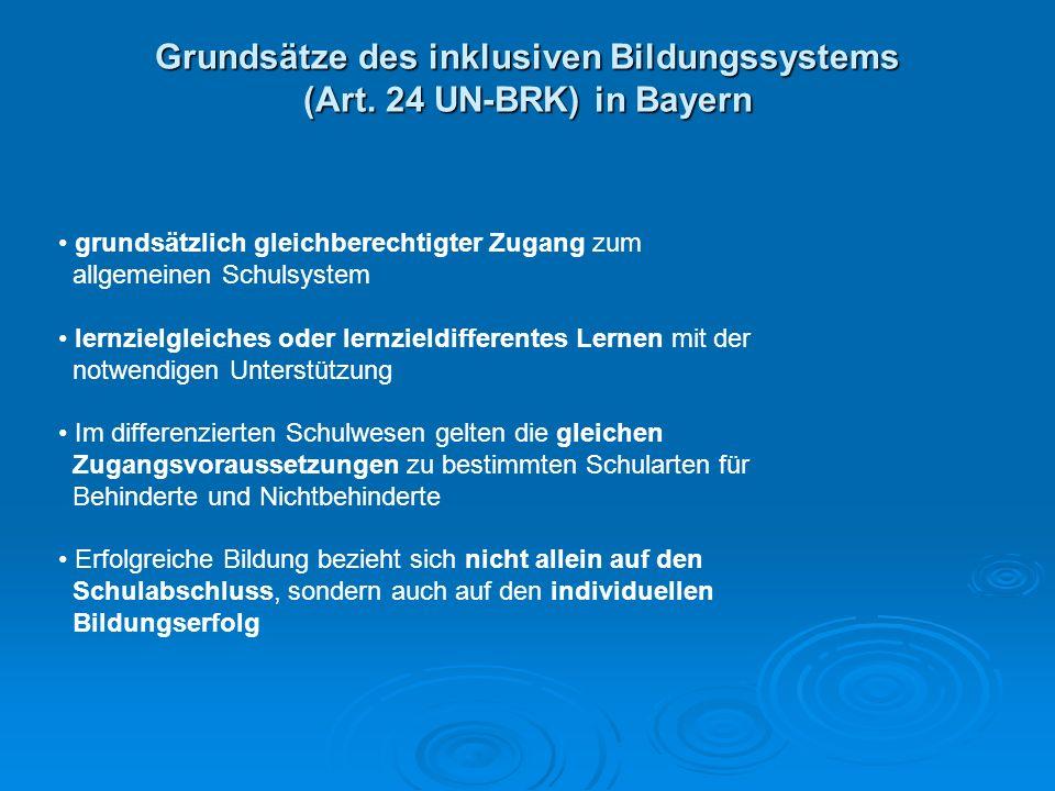 Grundsätze des inklusiven Bildungssystems (Art. 24 UN-BRK) in Bayern grundsätzlich gleichberechtigter Zugang zum allgemeinen Schulsystem lernzielgleic