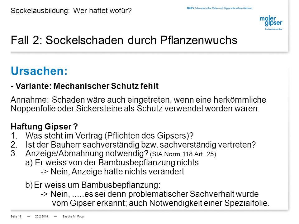 Fall 3: Sockelschaden durch Ameisen Ursache: Schaden durch Ungeziefer / Mäuse etc.