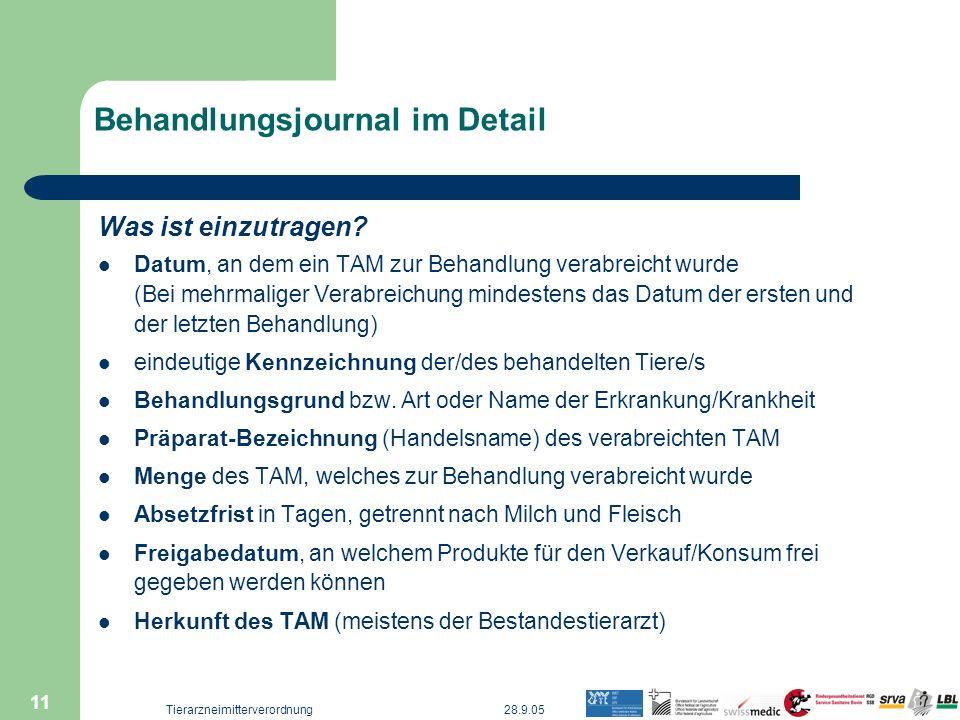 28.9.05Tierarzneimitterverordnung 11 Behandlungsjournal im Detail Was ist einzutragen? Datum, an dem ein TAM zur Behandlung verabreicht wurde (Bei meh