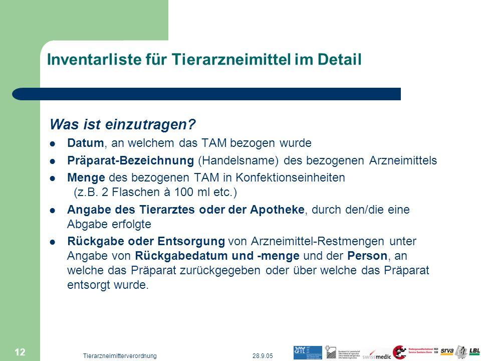 28.9.05Tierarzneimitterverordnung 12 Inventarliste für Tierarzneimittel im Detail Was ist einzutragen? Datum, an welchem das TAM bezogen wurde Präpara