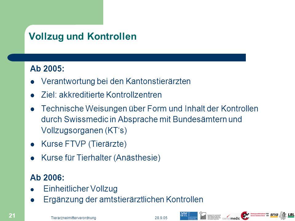 28.9.05Tierarzneimitterverordnung 21 Vollzug und Kontrollen Ab 2005: Verantwortung bei den Kantonstierärzten Ziel: akkreditierte Kontrollzentren Techn