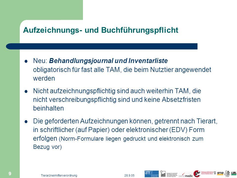 28.9.05Tierarzneimitterverordnung 9 Aufzeichnungs- und Buchführungspflicht Neu: Behandlungsjournal und Inventarliste obligatorisch für fast alle TAM,