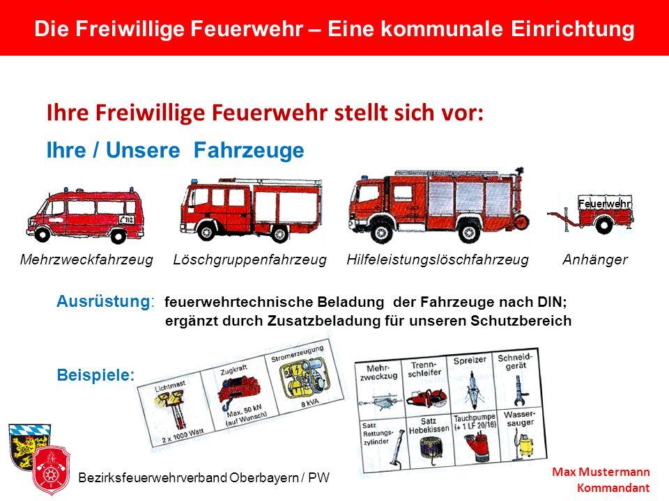 Die Freiwillige Feuerwehr – Eine kommunale Einrichtung Ihre Freiwillige Feuerwehr stellt sich vor: Max Mustermann Kommandant Ausrüstung: feuerwehrtech