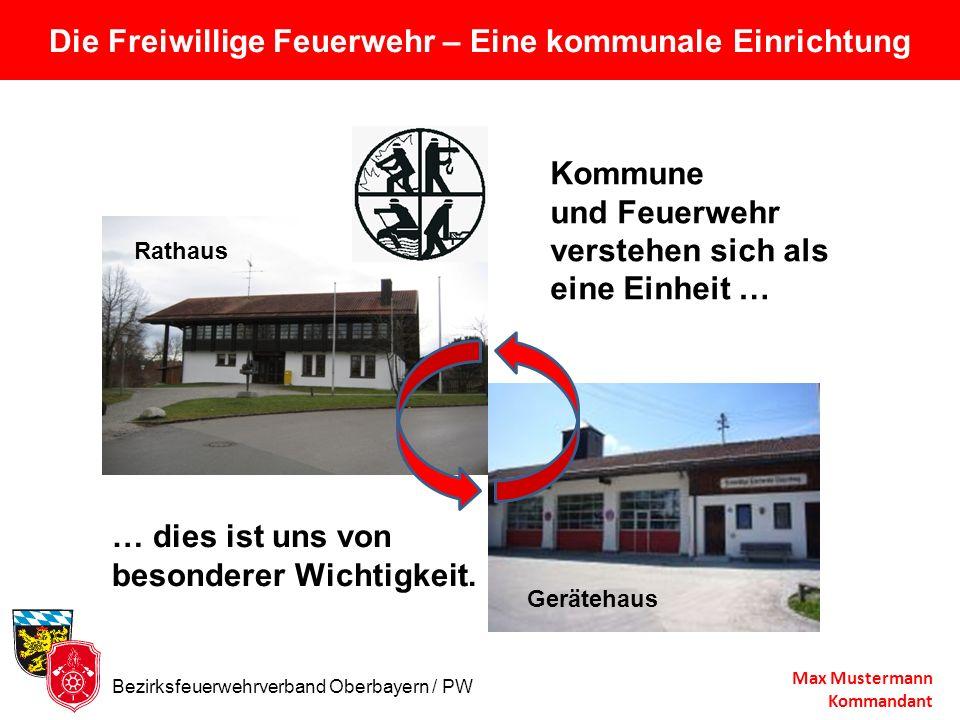 Die Freiwillige Feuerwehr – Eine kommunale Einrichtung Max Mustermann Kommandant Rathaus Kommune und Feuerwehr verstehen sich als eine Einheit … Gerät