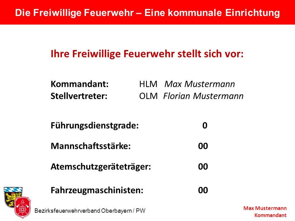Die Freiwillige Feuerwehr – Eine kommunale Einrichtung Ihre Freiwillige Feuerwehr stellt sich vor: Kommandant: HLM Max Mustermann Stellvertreter:OLM F