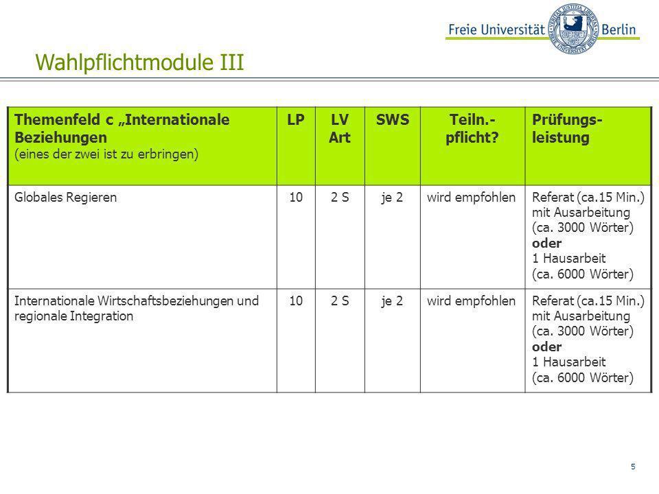 5 Wahlpflichtmodule III Themenfeld c Internationale Beziehungen (eines der zwei ist zu erbringen) LPLV Art SWSTeiln.- pflicht? Prüfungs- leistung Glob