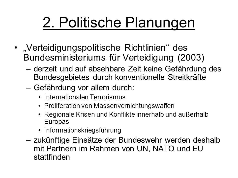 2. Politische Planungen Verteidigungspolitische Richtlinien des Bundesministeriums für Verteidigung (2003) –derzeit und auf absehbare Zeit keine Gefäh
