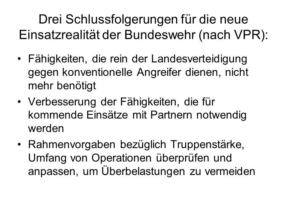 Drei Schlussfolgerungen für die neue Einsatzrealität der Bundeswehr (nach VPR): Fähigkeiten, die rein der Landesverteidigung gegen konventionelle Angr