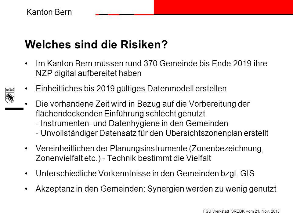 Kanton Bern Welches sind die Risiken? Im Kanton Bern müssen rund 370 Gemeinde bis Ende 2019 ihre NZP digital aufbereitet haben Einheitliches bis 2019