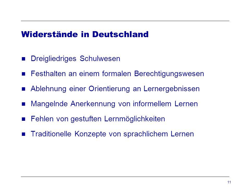 11 Widerstände in Deutschland Dreigliedriges Schulwesen Festhalten an einem formalen Berechtigungswesen Ablehnung einer Orientierung an Lernergebnisse