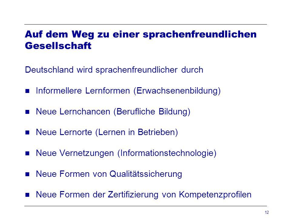 12 Auf dem Weg zu einer sprachenfreundlichen Gesellschaft Deutschland wird sprachenfreundlicher durch Informellere Lernformen (Erwachsenenbildung) Neu