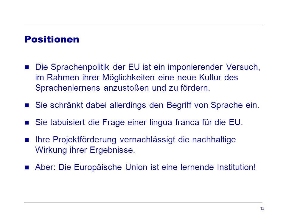 13 Positionen Die Sprachenpolitik der EU ist ein imponierender Versuch, im Rahmen ihrer Möglichkeiten eine neue Kultur des Sprachenlernens anzustoßen