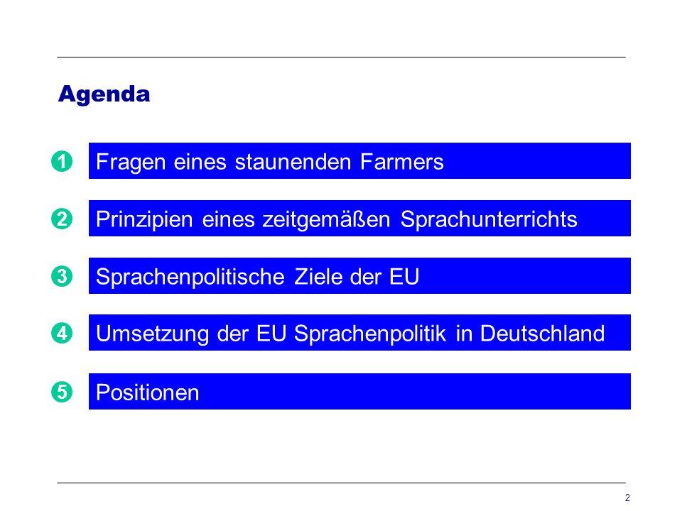 2 Agenda Prinzipien eines zeitgemäßen Sprachunterrichts 2 Sprachenpolitische Ziele der EU 3 Positionen 5 1 Fragen eines staunenden Farmers Umsetzung d