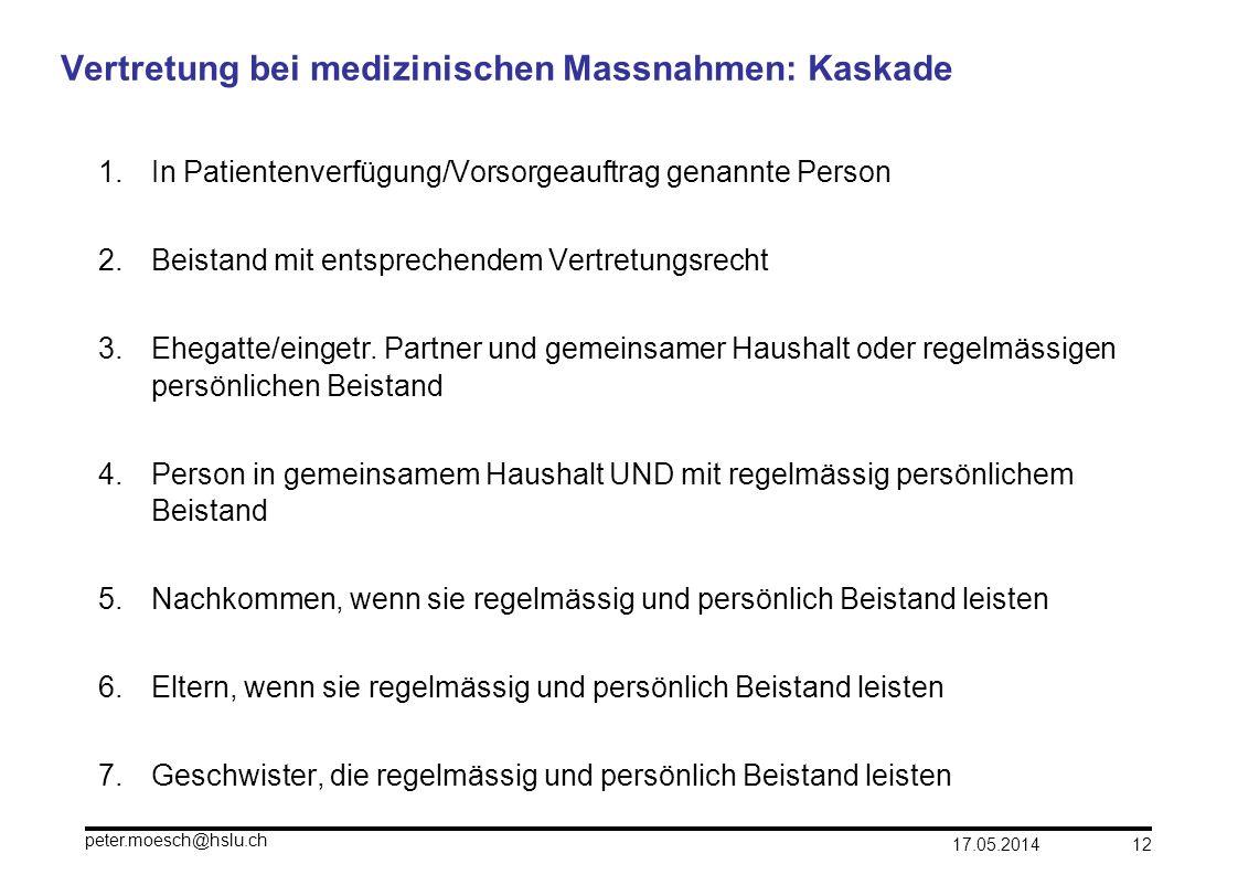 17.05.2014 peter.moesch@hslu.ch 12 Vertretung bei medizinischen Massnahmen: Kaskade 1.In Patientenverfügung/Vorsorgeauftrag genannte Person 2.Beistand