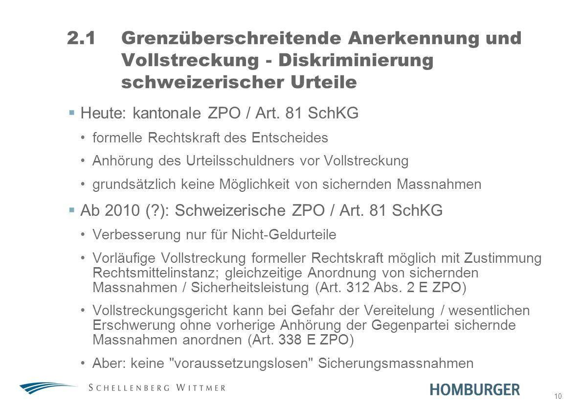10 2.1Grenzüberschreitende Anerkennung und Vollstreckung - Diskriminierung schweizerischer Urteile Heute: kantonale ZPO / Art. 81 SchKG formelle Recht