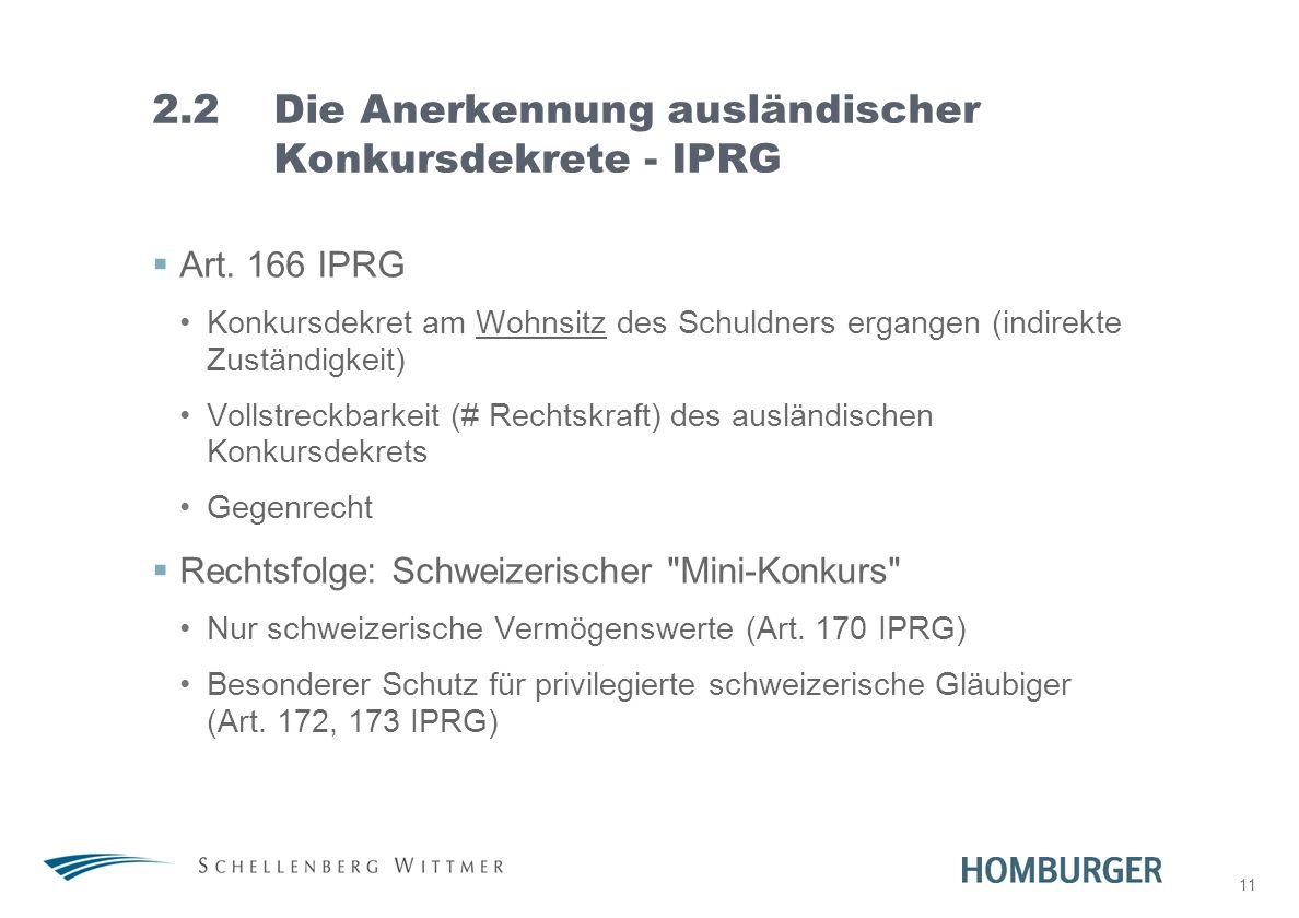 11 2.2Die Anerkennung ausländischer Konkursdekrete - IPRG Art. 166 IPRG Konkursdekret am Wohnsitz des Schuldners ergangen (indirekte Zuständigkeit) Vo