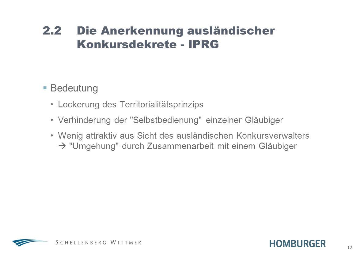 12 2.2Die Anerkennung ausländischer Konkursdekrete - IPRG Bedeutung Lockerung des Territorialitätsprinzips Verhinderung der