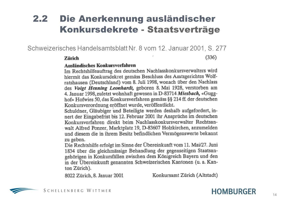 14 2.2Die Anerkennung ausländischer Konkursdekrete - Staatsverträge Schweizerisches Handelsamtsblatt Nr. 8 vom 12. Januar 2001, S. 277