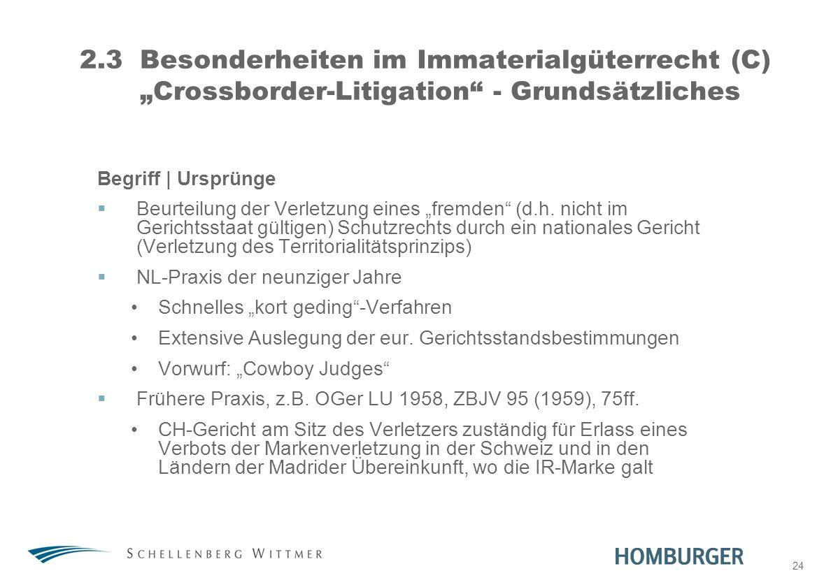24 2.3Besonderheiten im Immaterialgüterrecht (C) Crossborder-Litigation - Grundsätzliches Begriff | Ursprünge Beurteilung der Verletzung eines fremden