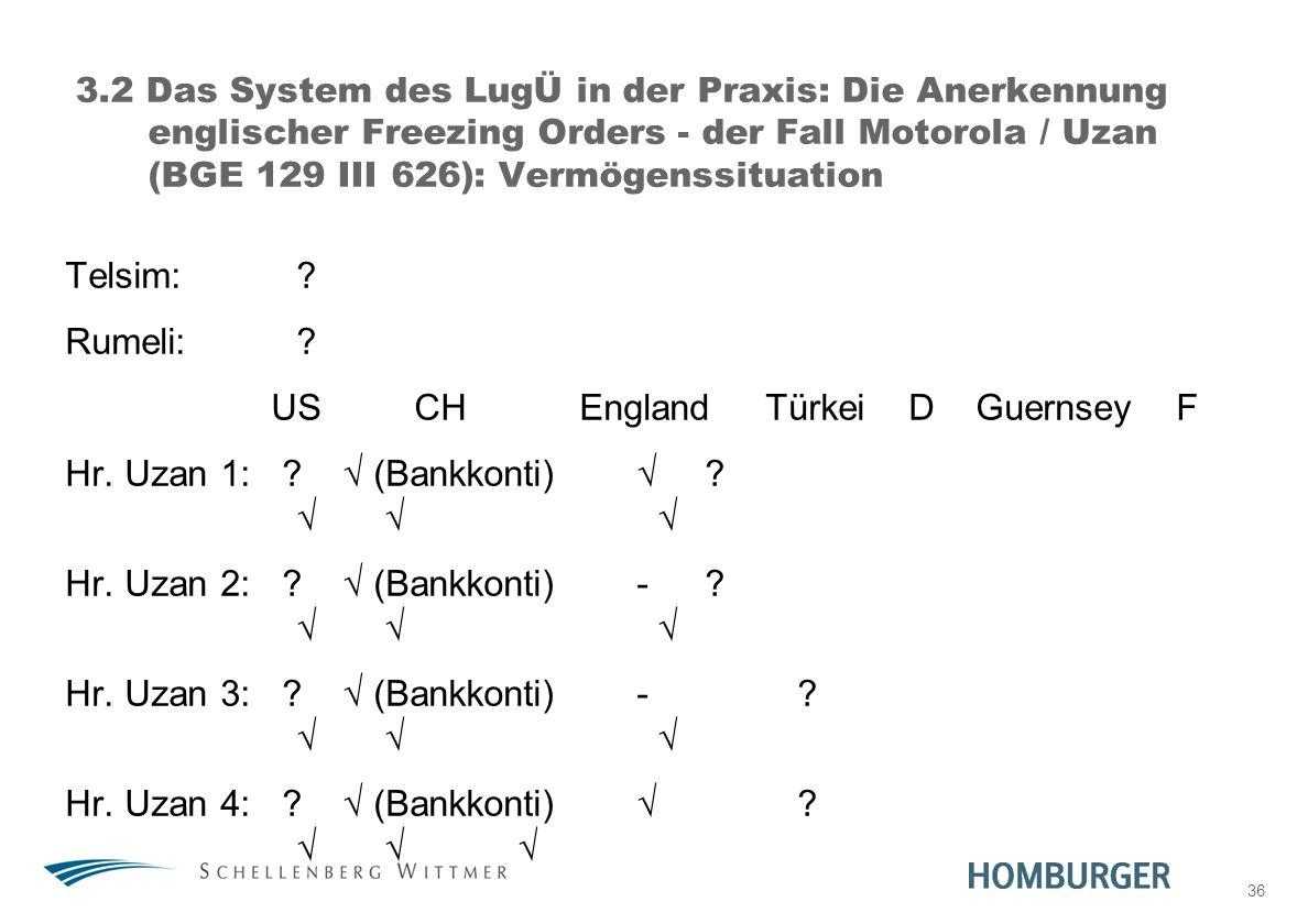 36 3.2 Das System des LugÜ in der Praxis: Die Anerkennung englischer Freezing Orders - der Fall Motorola / Uzan (BGE 129 III 626): Vermögenssituation