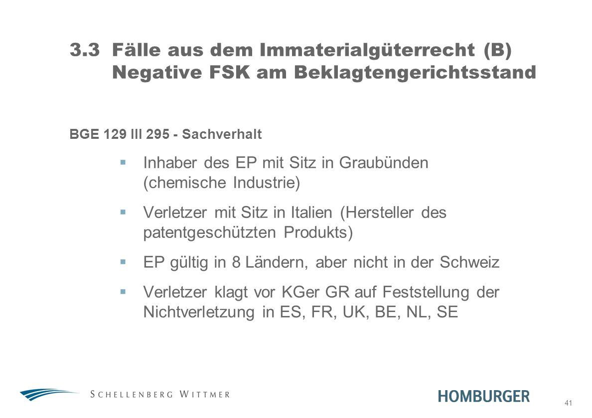 41 3.3Fälle aus dem Immaterialgüterrecht (B) Negative FSK am Beklagtengerichtsstand BGE 129 III 295 - Sachverhalt Inhaber des EP mit Sitz in Graubünde