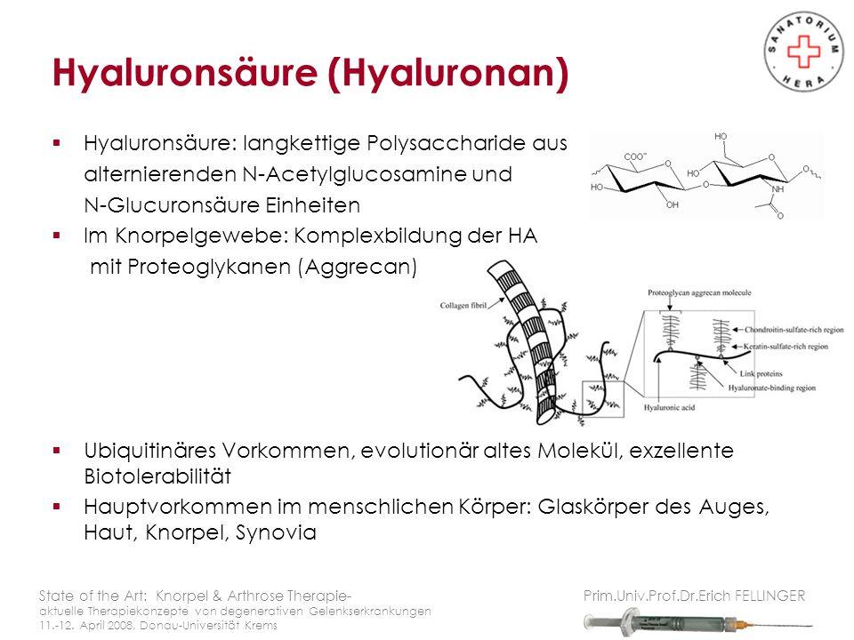 Hyaluronsäure: langkettige Polysaccharide aus alternierenden N-Acetylglucosamine und N-Glucuronsäure Einheiten Im Knorpelgewebe: Komplexbildung der HA mit Proteoglykanen (Aggrecan) Ubiquitinäres Vorkommen, evolutionär altes Molekül, exzellente Biotolerabilität Hauptvorkommen im menschlichen Körper: Glaskörper des Auges, Haut, Knorpel, Synovia Hyaluronsäure (Hyaluronan) State of the Art: Knorpel & Arthrose Therapie- aktuelle Therapiekonzepte von degenerativen Gelenkserkrankungen 11.-12.
