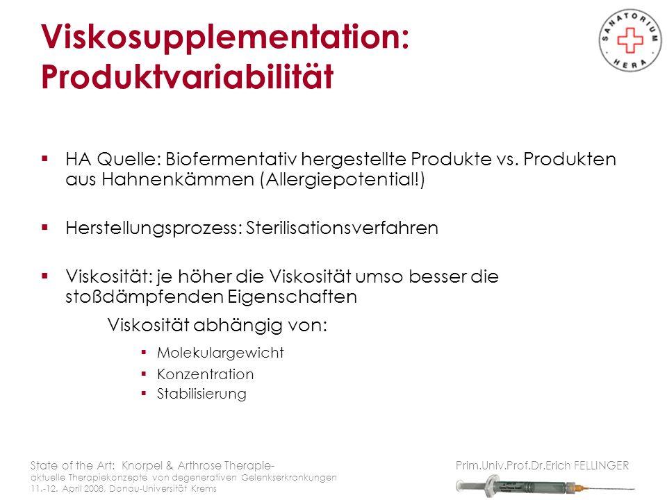 HA Quelle: Biofermentativ hergestellte Produkte vs. Produkten aus Hahnenkämmen (Allergiepotential!) Herstellungsprozess: Sterilisationsverfahren Visko