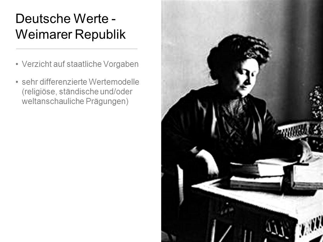 Deutsche Werte - Weimarer Republik Verzicht auf staatliche Vorgaben sehr differenzierte Wertemodelle (religiöse, ständische und/oder weltanschauliche Prägungen)