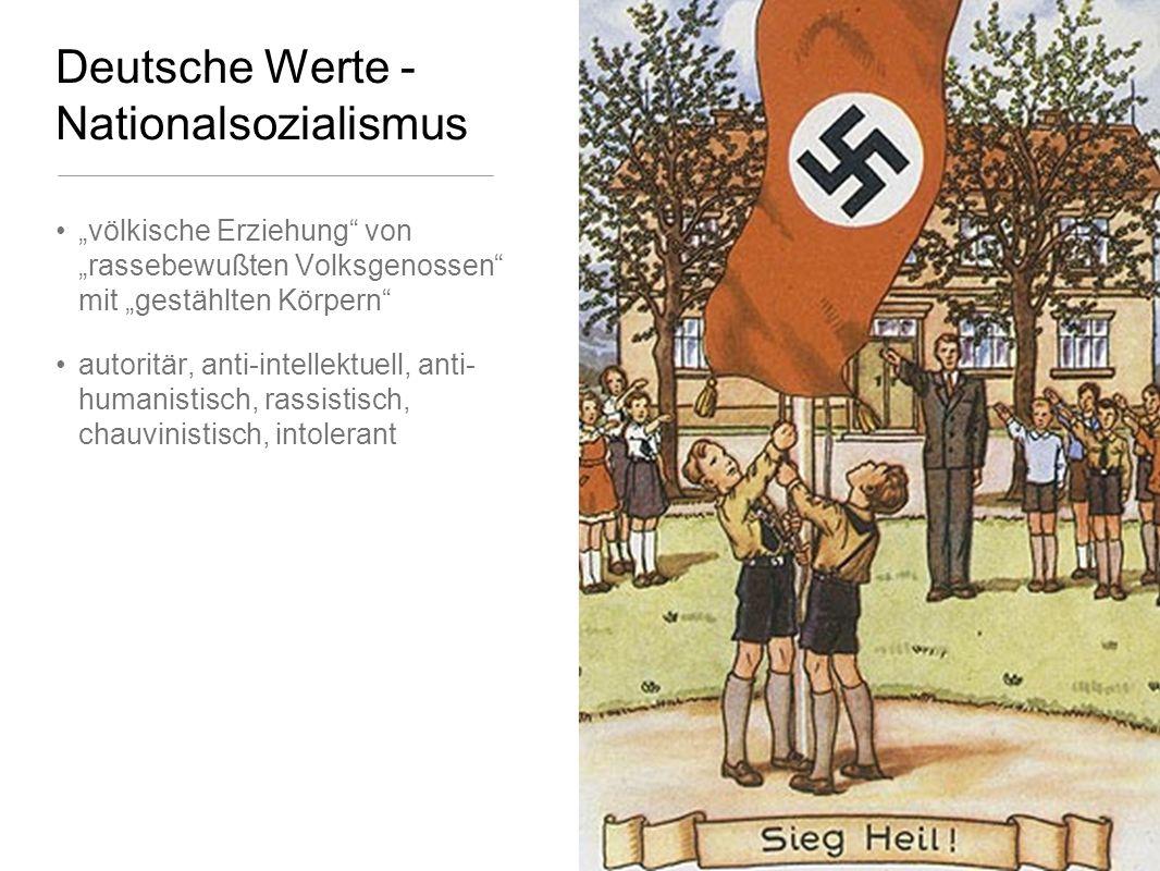 Deutsche Werte - Nationalsozialismus völkische Erziehung von rassebewußten Volksgenossen mit gestählten Körpern autoritär, anti-intellektuell, anti- humanistisch, rassistisch, chauvinistisch, intolerant