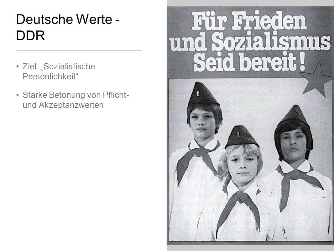 Deutsche Werte - DDR Ziel: Sozialistische Persönlichkeit Starke Betonung von Pflicht- und Akzeptanzwerten