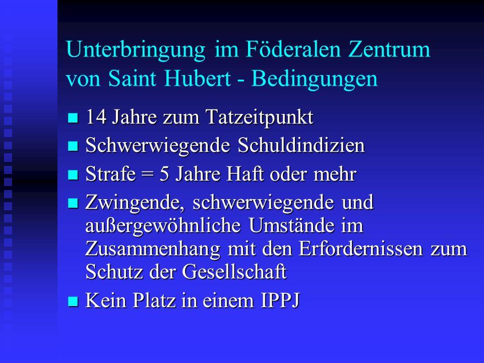 Unterbringung im Föderalen Zentrum von Saint Hubert - Bedingungen 14 Jahre zum Tatzeitpunkt 14 Jahre zum Tatzeitpunkt Schwerwiegende Schuldindizien Sc