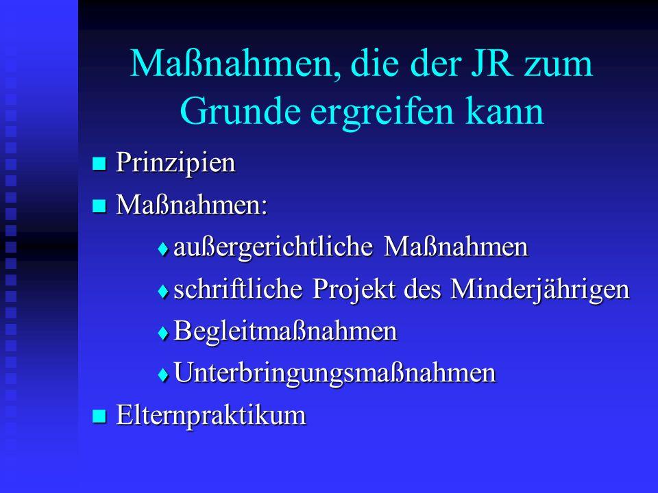 Maßnahmen, die der JR zum Grunde ergreifen kann Prinzipien Prinzipien Maßnahmen: Maßnahmen: außergerichtliche Maßnahmen außergerichtliche Maßnahmen sc
