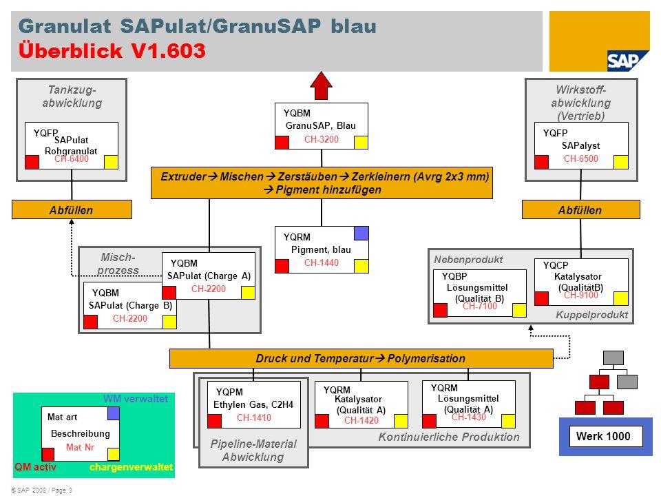 © SAP 2008 / Page 3 Extruder Mischen Zerstäuben Zerkleinern (Avrg 2x3 mm) Pigment hinzufügen Wirkstoff- abwicklung (Vertrieb) Kuppelprodukt Nebenprodu