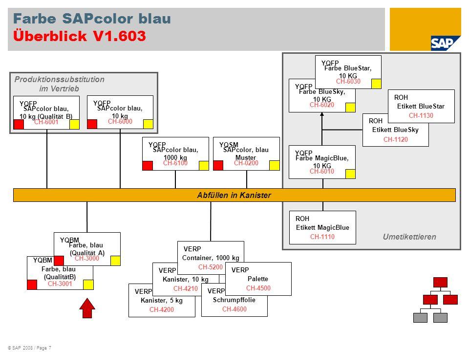 © SAP 2008 / Page 7 Farbe SAPcolor blau Überblick V1.603 Kanister, 5 kg VERP CH-4200 Kanister, 10 kg VERP CH-4210 Container, 1000 kg VERP CH-5200 Schrumpffolie VERP CH-4600 Palette VERP CH-4500 SAPcolor, blau Muster YQSM CH-0200 Produktionssubstitution im Vertrieb Farbe, blau (QualitätB) YQBM CH-3001 Farbe, blau (Qualität A) YQBM CH-3000 SAPcolor blau, 10 kg (Qualität B) YQFP CH-6001 SAPcolor blau, 1000 kg YQFP CH-6100 Farbe MagicBlue, 10 KG YQFP CH-6010 Etikett MagicBlue ROH CH-1110 Etikett BlueSky ROH CH-1120 Etikett BlueStar ROH CH-1130 Farbe BlueSky, 10 KG YQFP CH-6020 Farbe BlueStar, 10 KG YQFP CH-6030 Umetikettieren SAPcolor blau, 10 kg YQFP CH-6000 Abfüllen in Kanister