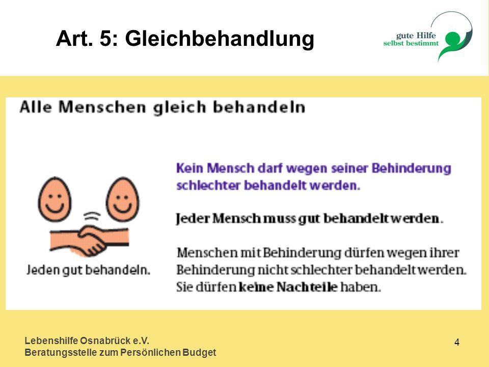 Lebenshilfe Osnabrück e.V. Beratungsstelle zum Persönlichen Budget 15 Art. 23: Partnerschaft