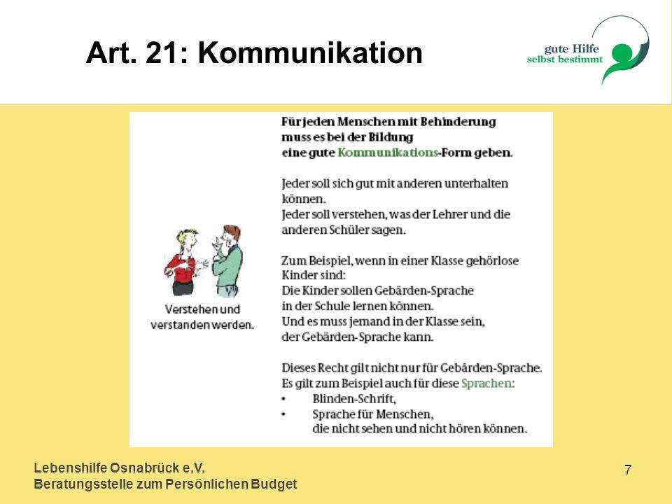 Lebenshilfe Osnabrück e.V. Beratungsstelle zum Persönlichen Budget 8 Art. 24: Lernen