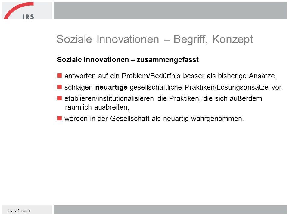 Folie 5 von 9 Sozialinnovative Projekte für ländliche Regionen von Social Entrepreneurs Beispiele Valnalón (Asturien) Enterprise (Brandenburg) XperRegio (Niederbayern) Entersocial – Engagement für die Region (Brandenburg) Struktur der Beispielpräsentationen Problemlage Lösungsansatz / Innovativität Handlungsstrategie der Social Entrepreneurs Implikationen für die Regionalentwicklung und räumliche Verbreitung Enterprise http://www.youtube.com/watch?v=JX5RTrRkMMw XperRegio http://www.youtube.com/watch?v=ENogyOBfy7Y