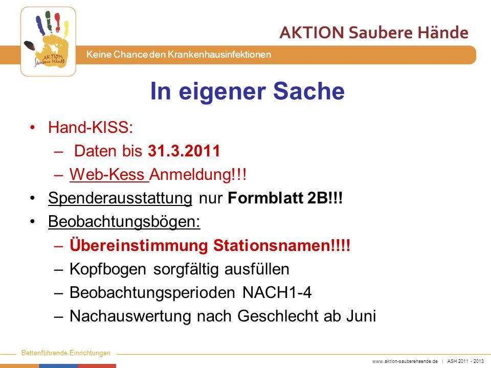 www.aktion-sauberehaende.de | ASH 2011 - 2013 Bettenführende Einrichtungen Keine Chance den Krankenhausinfektionen In eigener Sache Hand-KISS: – Daten
