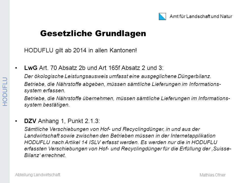 Amt für Landschaft und Natur REB / GMF / Extenso Mathias Ofner Gesetzliche Grundlagen HODUFLU gilt ab 2014 in allen Kantonen! LwG Art. 70 Absatz 2b un