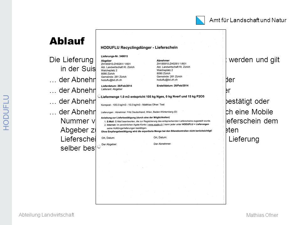 Amt für Landschaft und Natur REB / GMF / Extenso Mathias Ofner Ablauf Die Lieferung muss vom Abnehmer wie folgt bestätigt werden und gilt in der Suisse Bilanz als anrechenbar, wenn… … der Abnehmer die Lieferung via E-Mail bestätigt oder … der Abnehmer die Lieferung per SMS bestätigt oder … der Abnehmer die Lieferung direkt in HODUFLU bestätigt oder … der Abnehmer weder über eine E-Mail Adresse noch eine Mobile Nummer verfügt, dieser den unterschriebenen Lieferschein dem Abgeber zustellt.